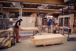 27.08.13 - Zusammenbau der Elemente in der Werkhalle der BFH